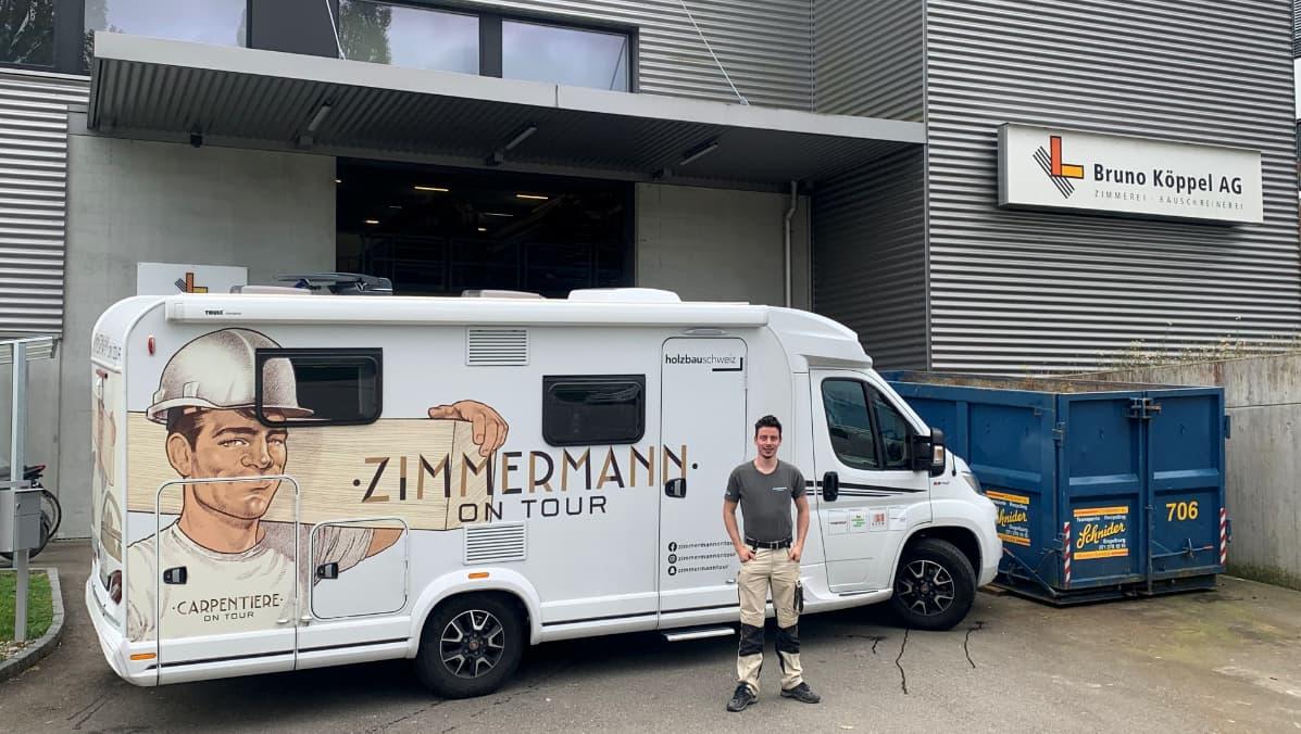 «Zimmermann on Tour» Benjamin Nussbaum und sein Camper sind zwei Wochen zu Gast bei der Bruno Köppel AG.